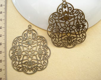 ON SALE - 15 Vintage Pattern Filigree Base Antiqued Bronze 57x48mm B-481