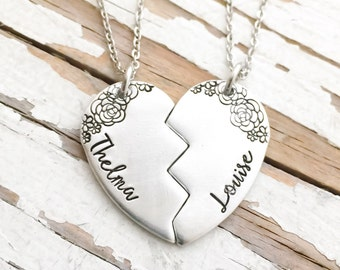 Hand Stamped Thelma and Louise swolemate necklace SET OF TWO best friend best bitch youre my person you will always be my person broken