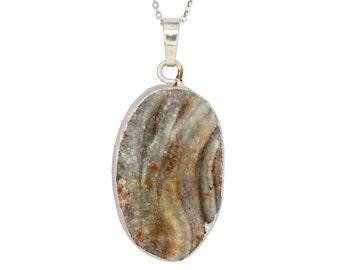 PD050110) Druzy Agate, Druzy, Agate Pendant, Druzy Pendant, Grey/Silverish Agate, 925 Sterling Silver Pendant