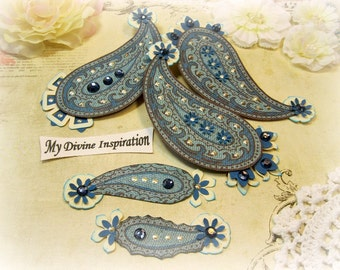 Blue and Ivory Handmade Paper Embellishments and Paper Paisleys for Scrapbook Layouts Cards Mini Albums Tags and Paper Crafts