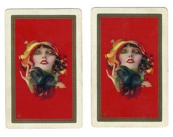 UNMASKED (2) Vintage Single Swap Playing Cards Paper Ephemera Scrapbook