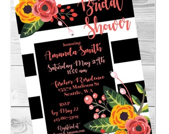 Bridal Shower Black and White Modern Floral Kate Spade Printable Digital Download Party Invitation