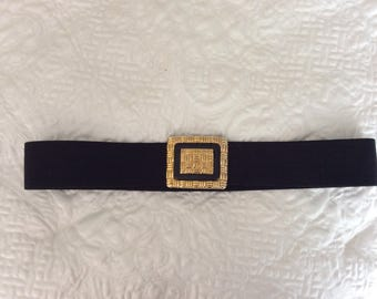 Vintage  black  elastic  belt black stretch  cinch belt