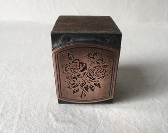 Vintage Letterpress Copper on Wood Block Featuring Roses for Printing and Stamping