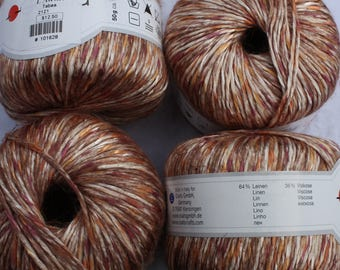 Linen Rayon Blend Variegated Yarns Tabea made by Gedifra Italian Browns sold by the each color 2121