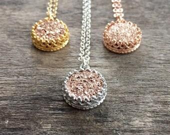 Druzy Necklace, Rose Gold Druzy Necklace, Crown Set Druzy Pendant, Titanium Druzy, Druzy Jewelry, Bridesmaid Jewelry, Wedding Jewelry