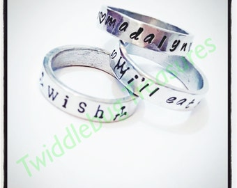 Hand Stamped Pewter Ring - Personalized Ring - Name Ring