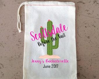 Bachelorette Hangover Kit, Scottsdale Bachelorette Hangover Kit, Drawstring Favor Bag, Cactus Wedding