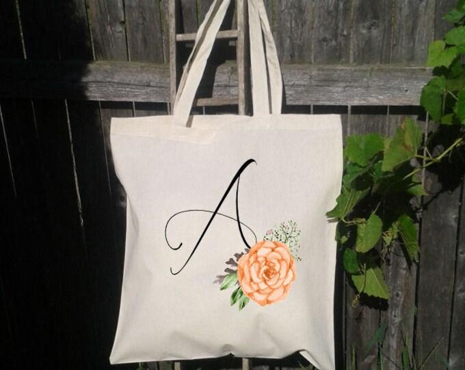 Bridesmaid Tote Bag, Bridesmaid Wedding Welcome Tote Bag, Floral Wedding Tote Bag, Bridal Party Gift