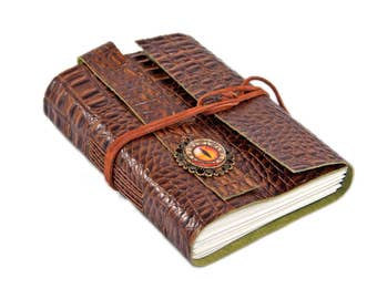 Brown Alligator Embossed Leather Journal with Blank Paper Journal and Dragon Eye Cameo - Ready to Ship