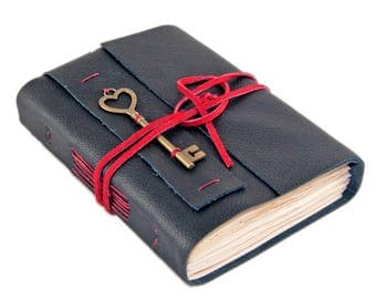 Black Leather Journal with Tea Stained Paper  - Heart Key - Travel Journal - Rustic - Ready to Ship -