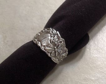 Spring Butterfly Garden sterling silver spoon ring closed size 7.5