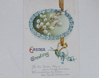 Antique Easter postcard Easter egg with poem forget-me-not flowers, pussy willows and gold ribbon ephemera