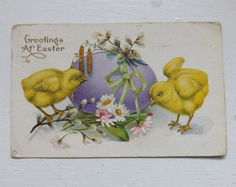 Antique Easter postcard Easter egg and Easter chicks floral clover blossom pussy willow and daisy post card vintage ephemera