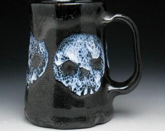 Spotted Ghost Skulls Beer Mug in Metallic Black Glaze