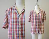 1980s Plaid Short Sleeve Blouse