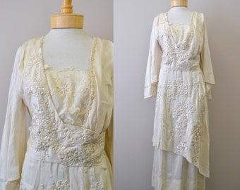1910s Edwardian Silk Cherry Blossom Embroidered Dress
