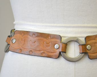 1970s Tooled Leather and Link Belt