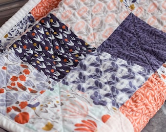 SALE!! Modern patchwork baby quilt - one of a kind - purple orange floral
