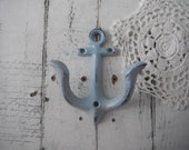 light blue anchor wall hook petite nautical hook beach house decor shabby cottage rustic decor nautical bathroom hook distressed towel hook