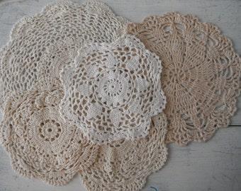 mixed doily destash cream doilies white doilies christmas decor table decor dresser mat vintage doilies crocheted doilies cottage decor