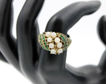 Green Rhinestone Ring with Faux Pearls, Adjustable Ring