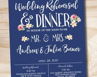 Modern succulent floral Rehearsal Dinner Invitation - Printable digital file or printed invitations Navy and Pink