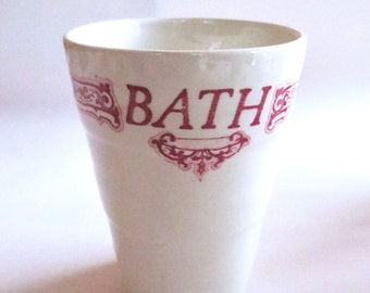 Vintage Ceramic Bath cup, Red Transfer Ware, Royal Crownford Staffordshire England, Shabby Chic decor, 4 available Jackpot Jen