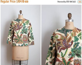 SPRING SALE vintage 1950s printed floral wool cardigan sweater - 50s printed cardigan / Pearl Ford - forest green floral sweater / classic 5