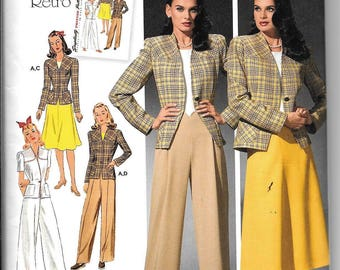 Vintage Retro 40s Simplicity 4044 Skirt Pants & Jacket Sewing Pattern 1940's UNCUT Size 10, 12, 14, 16, 18