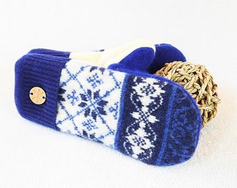 Wool Mittens ROYAL BLUE Nordic / Fair Isle Sweater Wool Gloves Sweater Mitts Fleece Lined Scandinavian Design Gift Under 50 WormeWoole