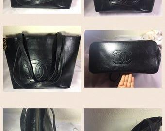 Vintage CC Large Black Leather Shoulder Bag OBO