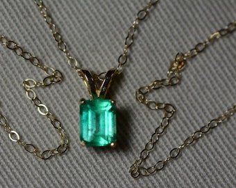 "Emerald Necklace, 14K Yellow Gold Colombian Emerald Pendant 0.71 Carat, Certified Emerald, May Birthstone, 18"" Gold Chain, Emerald Cut"