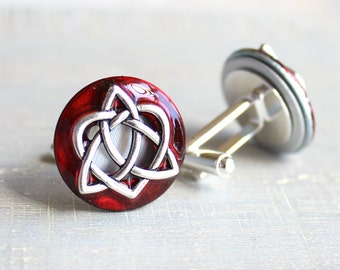 red celtic knot cufflinks, triquetra cufflinks, celtic heart, anniversary gift, celtic cufflinks, irish jewelry, mens jewelry, mens gift