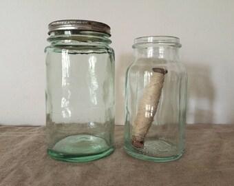 Two vintage green glass preserving  bottles / jars. Vintage kitchen / vintage decor.