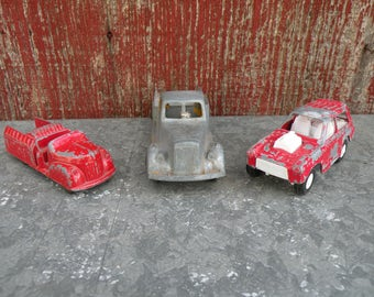 3 , Vintage Red & Gray metal toy trucks  , worn red and white paint , Perfect patina Sweet display
