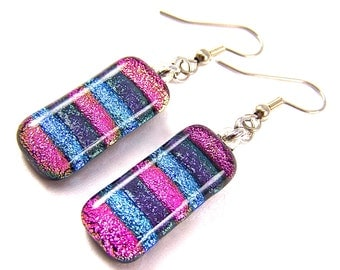 """Dichroic Earrings  - Pink Fuchsia Purple Blue Rainbow Striped Skinny Dicro - Surgical Steel French Wire Dangle or Clip-On - 1"""" 25mm"""