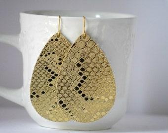 Gold Snakeskin Leather Drop Teardrop Earrings