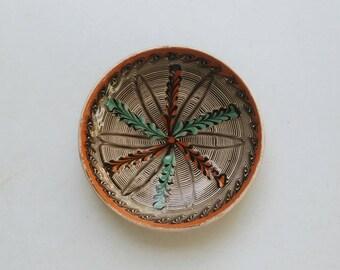 Horezu Pottery Wall Plate - Small Ceramic Plate - Romanian Pottery - Bohemian Decor