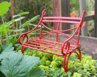 Fairy Garden Bench Miniature Acessories Fairy Garden Furniture Red Fairy Garden Bench