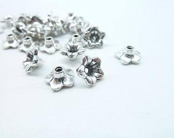 100pcs 4x9mm Antique Silver Flower Bead Caps Pearl Cup, Pendant c6600