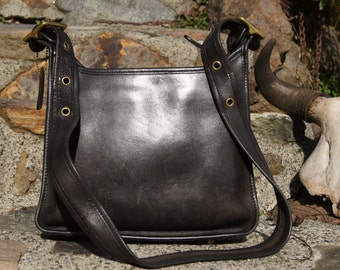 80's Authentic Coach Distressed Black Leather Cashin Legacy Bag