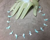 """Vintage 24"""" Silvertone Chain Necklace Multi Light Blue Bird Beaded Accents"""