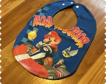 Mario Go Kart Recycled T-Shirt Baby Bib, Road Warrior, Video Game, Baby Boy Gift Baby, Geek Baby, Nerd Baby Shower