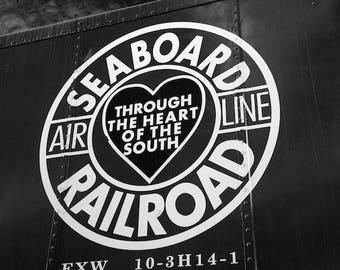 Train Room Decor, Black and White Photo, Old Train Photo, Seaboard Railroad