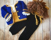 Beast Inspired Costume/Beauty and the Beast/Crochet Beast Hat/Disney Inspired Photo Prop Newborn to 12 Months- MADE TO ORDER