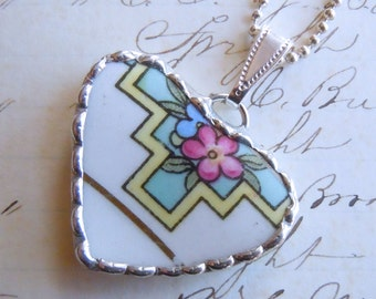 Fiona & The Fig Vintage-Broken China Soldered Necklace Pendant Charm- Jewelry