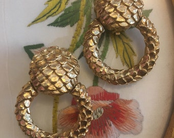 Vintage Gold Givenchy Earrings with Scales