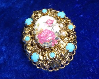 Beautiful 1940s Pink Rose Brooch signed West Germany, pink rose brooch, faux pearl faux turquoise signed West Germany
