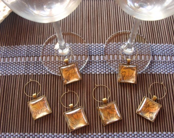 Wine Glass Charms - DRAGONFLY - Inspirational Words - Set of 6